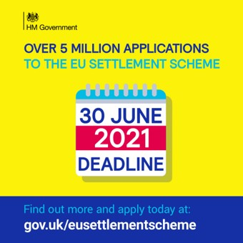 Social media asset: Over 5 million applications to the EU Settlement Scheme